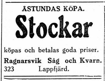 Erik Anders Broberg var sågägare i Ragnarsvik och i februari 1929 ville han köpa upp stockar.