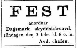 19290202 Skyddskåren ordnar fest
