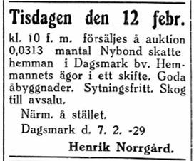 Henrik Norrgård som i början på 1920-talet hade förvärvat Nybonds hemman på Åbackan sålde hemmanet och alla byggnader på auktion. Annons i Syd-Österbotten 9.2.1929.