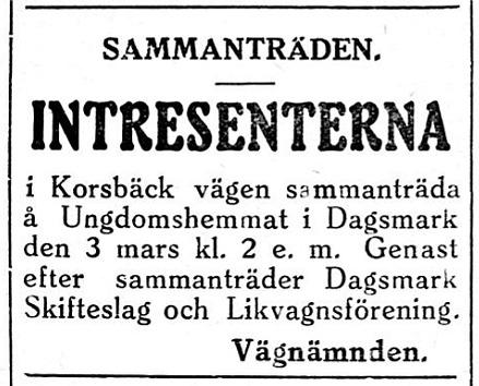 27.2.1929 annonserade 3 föreningar om sammanträden på samma gång.