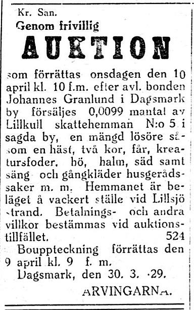 """Änkan Ida Granlund och barnen ordnar auktion efter avlidne Johannes Granlund, som kallades """"Lill-Topinas Johannes""""."""