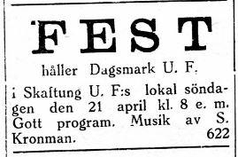 17.4.1929 DUF ordar fest i Skaftung.