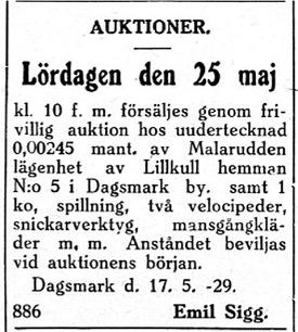 Emil Sigg som var gift med Dragås-Hildas dotter Helmi köpte en tomt på Malarudden av Axel Lillträsk men bjöd ut den i Syd-Österbotten 22 maj 1929.