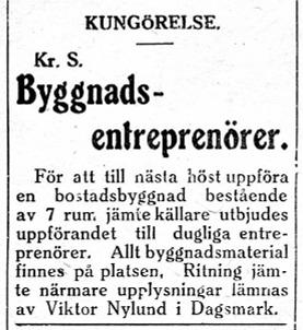 29.6.1929 vill Viktor Nylund bygga upp en bostadsbyggnad.