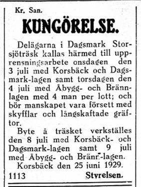 Dylika kungörelser gjorde ofta åt delägarna i Dagsmark Storsjöträsk.