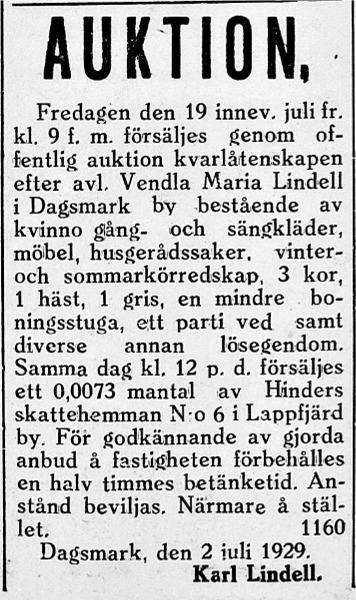 Karl Lindell säljer Vendla Marias kvarlåtenskap på auktion.