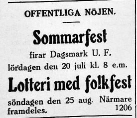 10.7.1929. DUF annonserar både sommarfest och folkfest på samma gång.