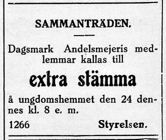 20.7.1929 kallade mejeriet till extra stämma. Mejeribygget var på gång och skulle säkert behandlas på stämman.