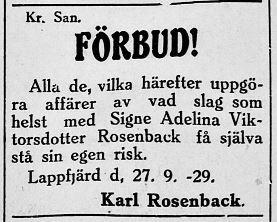 """""""Kväänå-Kalle"""" varnar allmänheten att göra några som helst affärer med hans hustru Signe Adelina Ulfves. Annons i Syd-Österbotten 28.9.1929."""