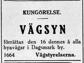 Varje år hölls det vägsyn på vägarna som underhölls av byssborna, som ålades att sköta om vissa avsnitt. Annons i Syd-Österbotten 9.10.1929.