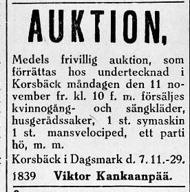 Änklingen Viktor Kankaanpää, senare Berglind annonserade 9.11.1929 om auktion efter hustrun Helmi Marias död i augusti samma år.