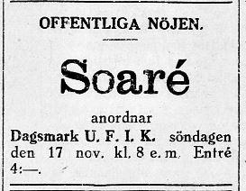 16.11.1929 Idrottsklubben inom ungdomsföreningen ordnar soaré.