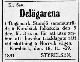 Efter att den nya väglagen trätt i kraft, så skulle Norrvik vägen skiftas enligt delägarna. Annons i Syd-Österbotten 20.11.1929.