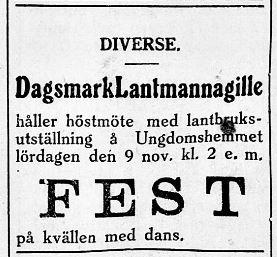 6.11.1929 Lantmannagillet håller höstmöte.