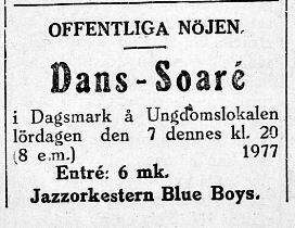 4.12.1929 en jazzorkester spelade på dans-soarén i Dagsmark.