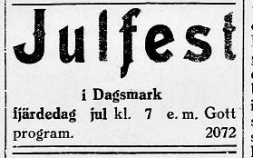 Ungdomsföreningen ordnade sina julfester på fjärdedag jul. Annons i Syd-Österbotten 21.12.1929.