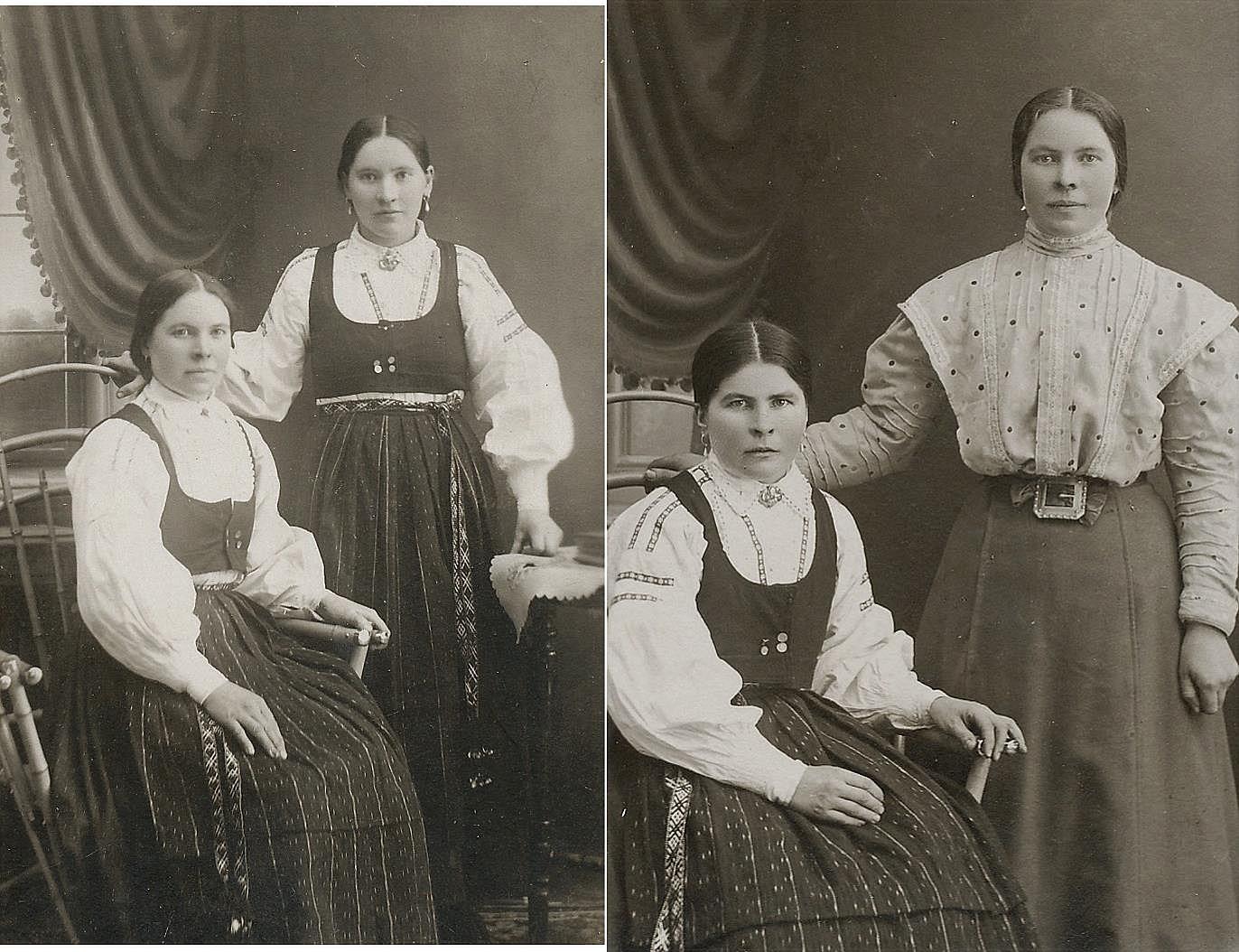 På bilden till vänster tvillingarna Selma och Elvira Asplund och till höger systrarna Ida och Elvira.