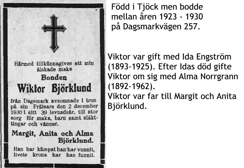 Björklund Viktor, Almas man