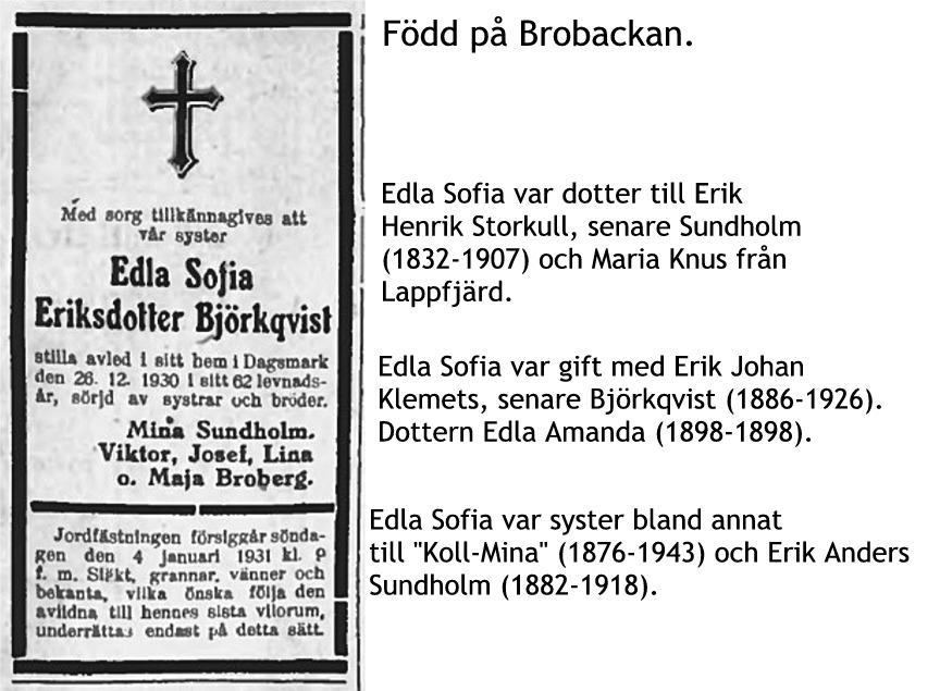 Björkqvist Edla Sofia Eriksdotter