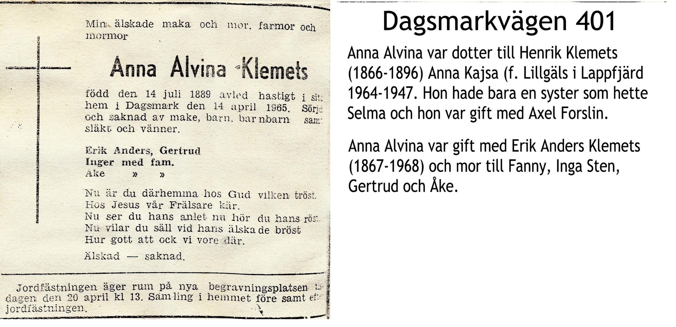 Klemets Anna Alvina