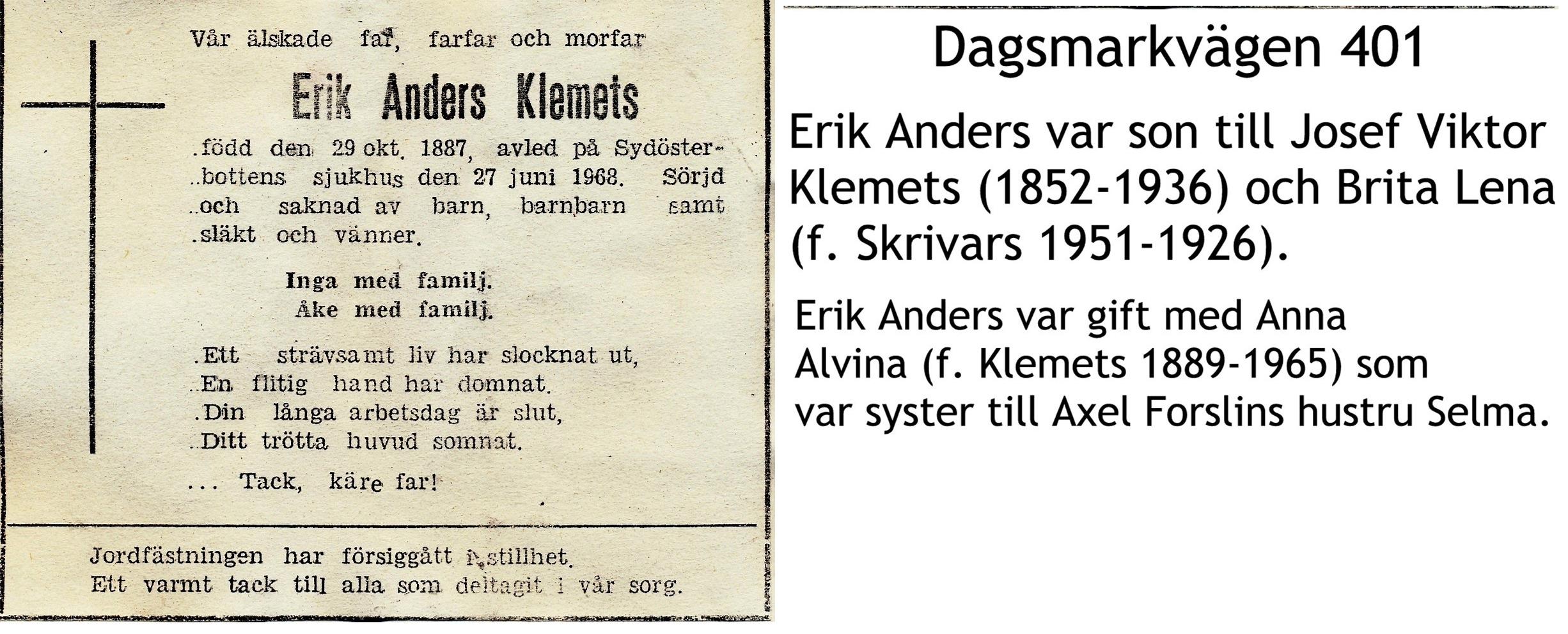 Klemets Erik Anders
