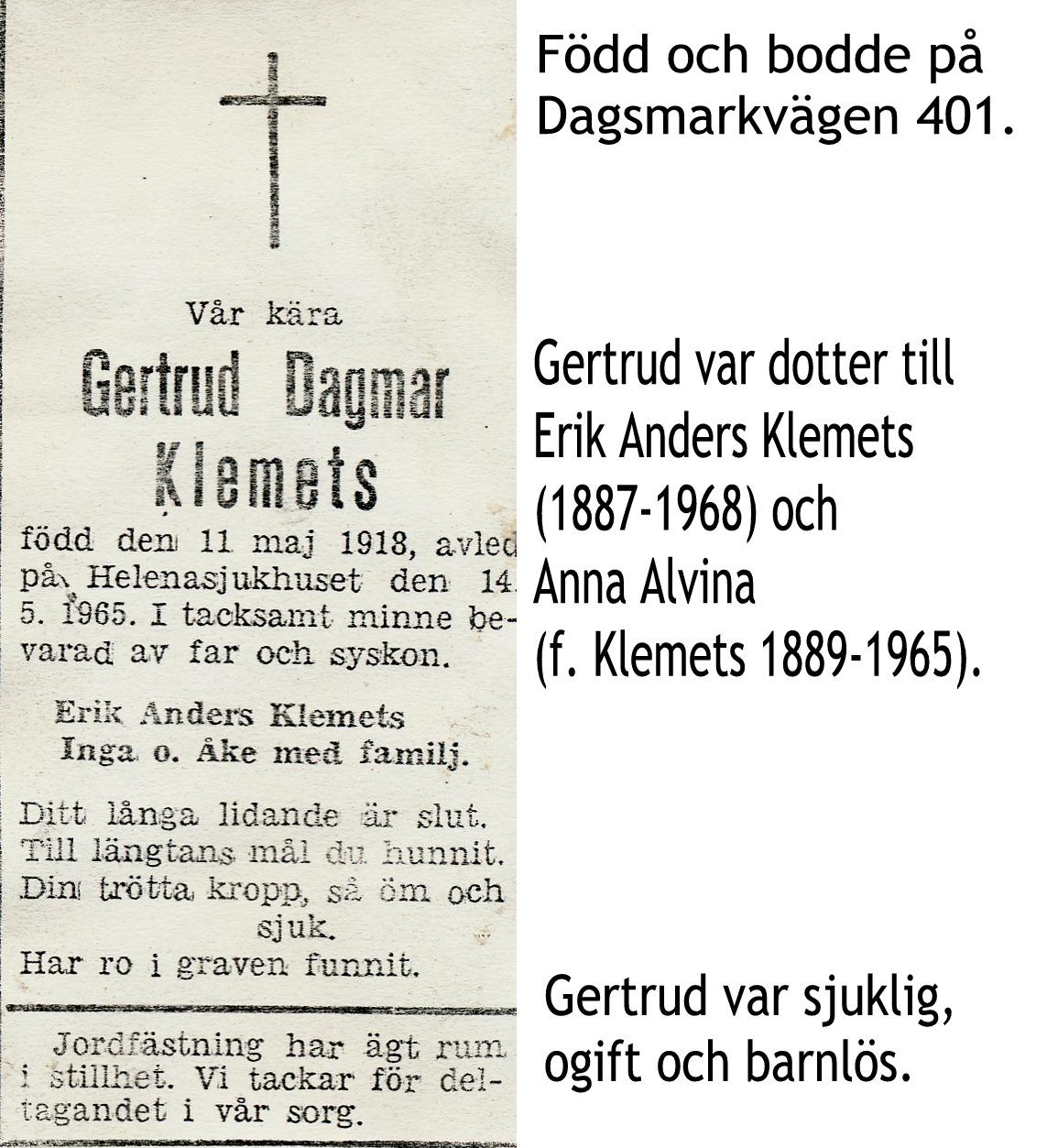 Klemets Gertrud