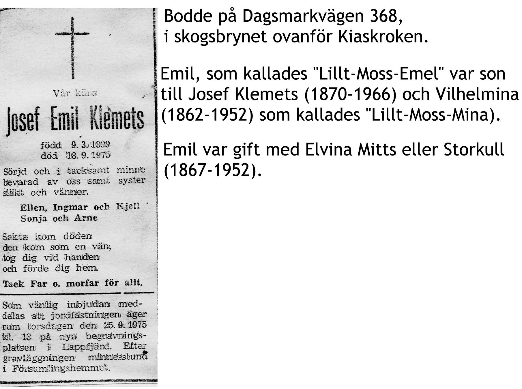 Klemets Josef EMIL
