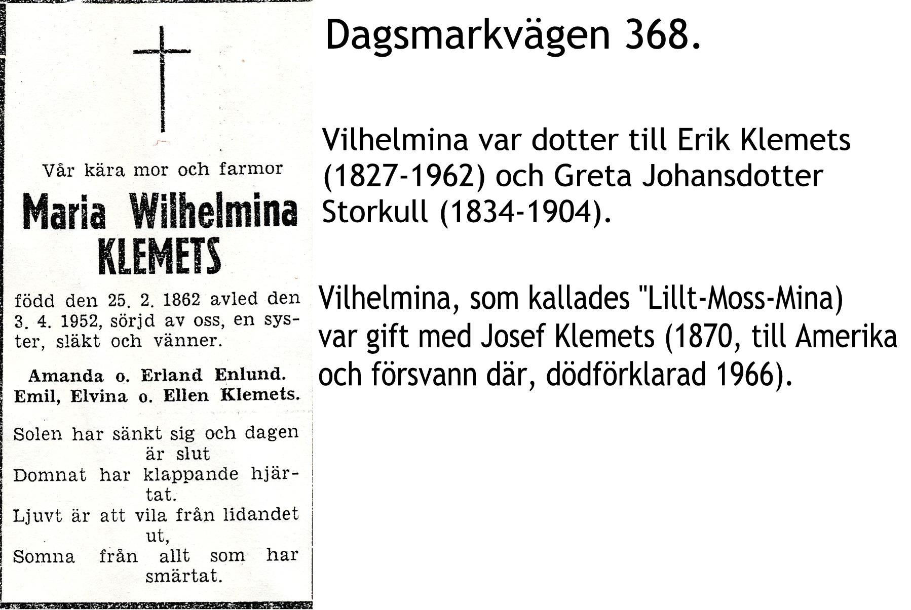 Klemets Maria Wilhelmina