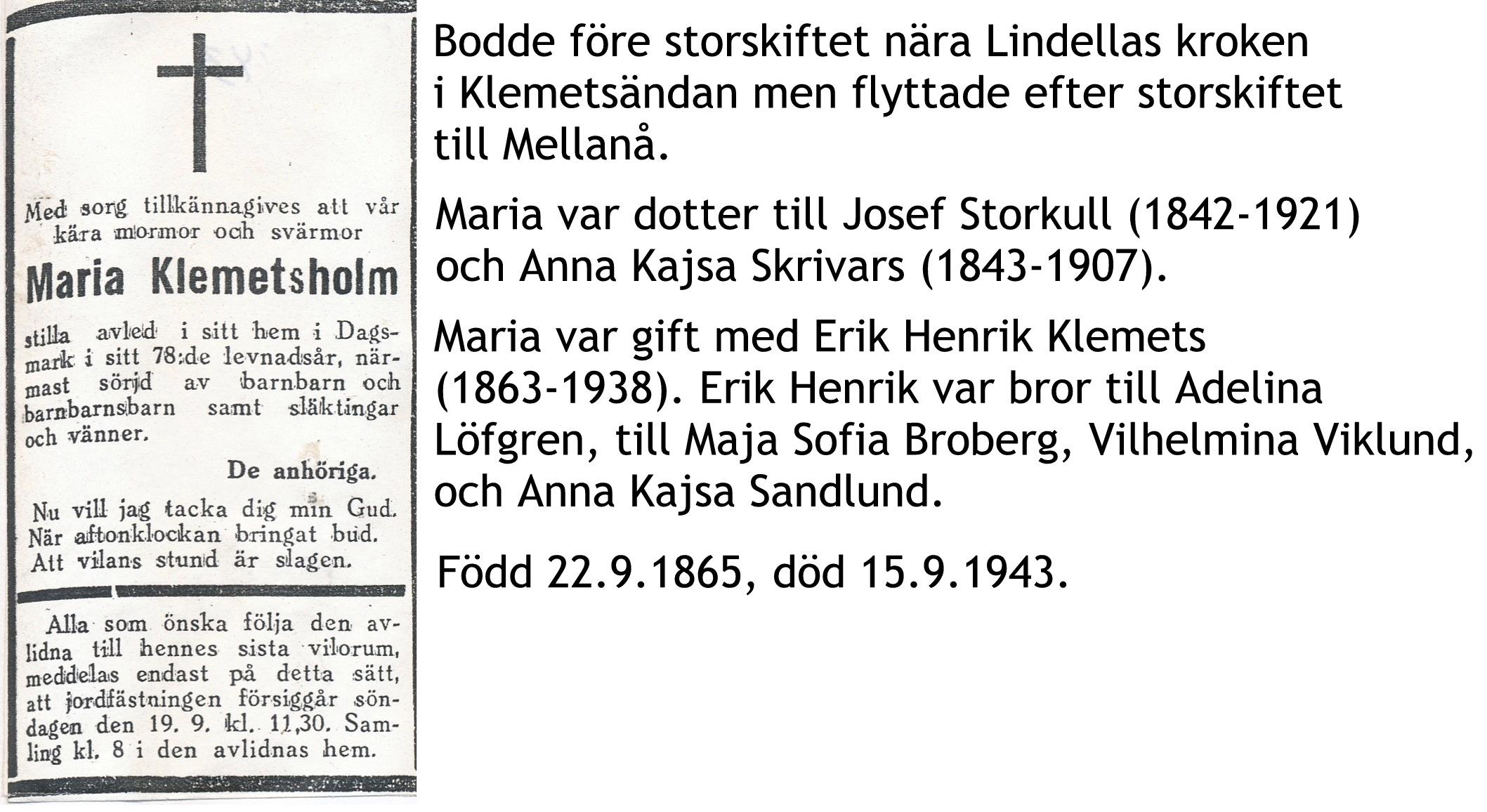 Klemetsholm Maria f. Holmudd