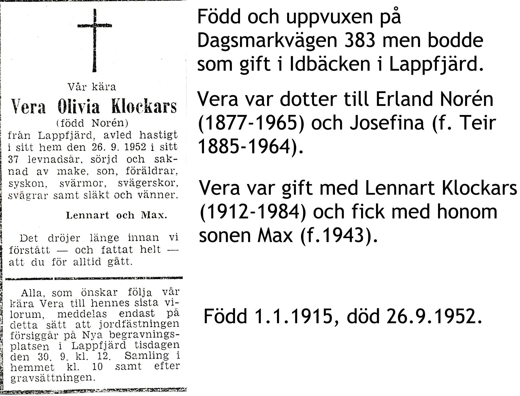 Klockars Vera Olivia, f. Norén