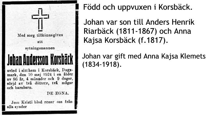 Korsbäck Johan Andersson