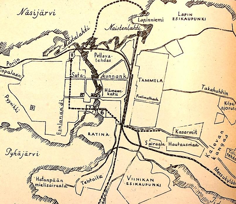 Den streckade linjen som börjar vid begravningsplatsen till höger och sträcker sig mot nr 8 som är Näsilinna, visar den rutt som Melins kompani tog då de stormade rödgardisternas högkvarter i centrala Tammerfors.