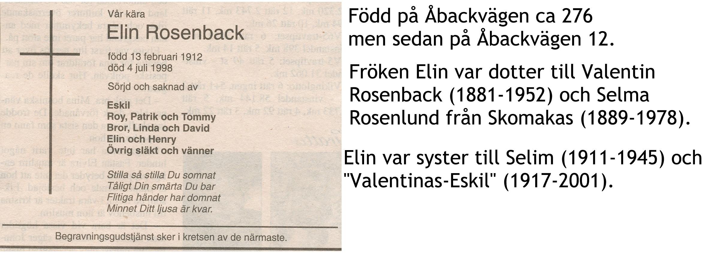 Rosenback Elin Fröken
