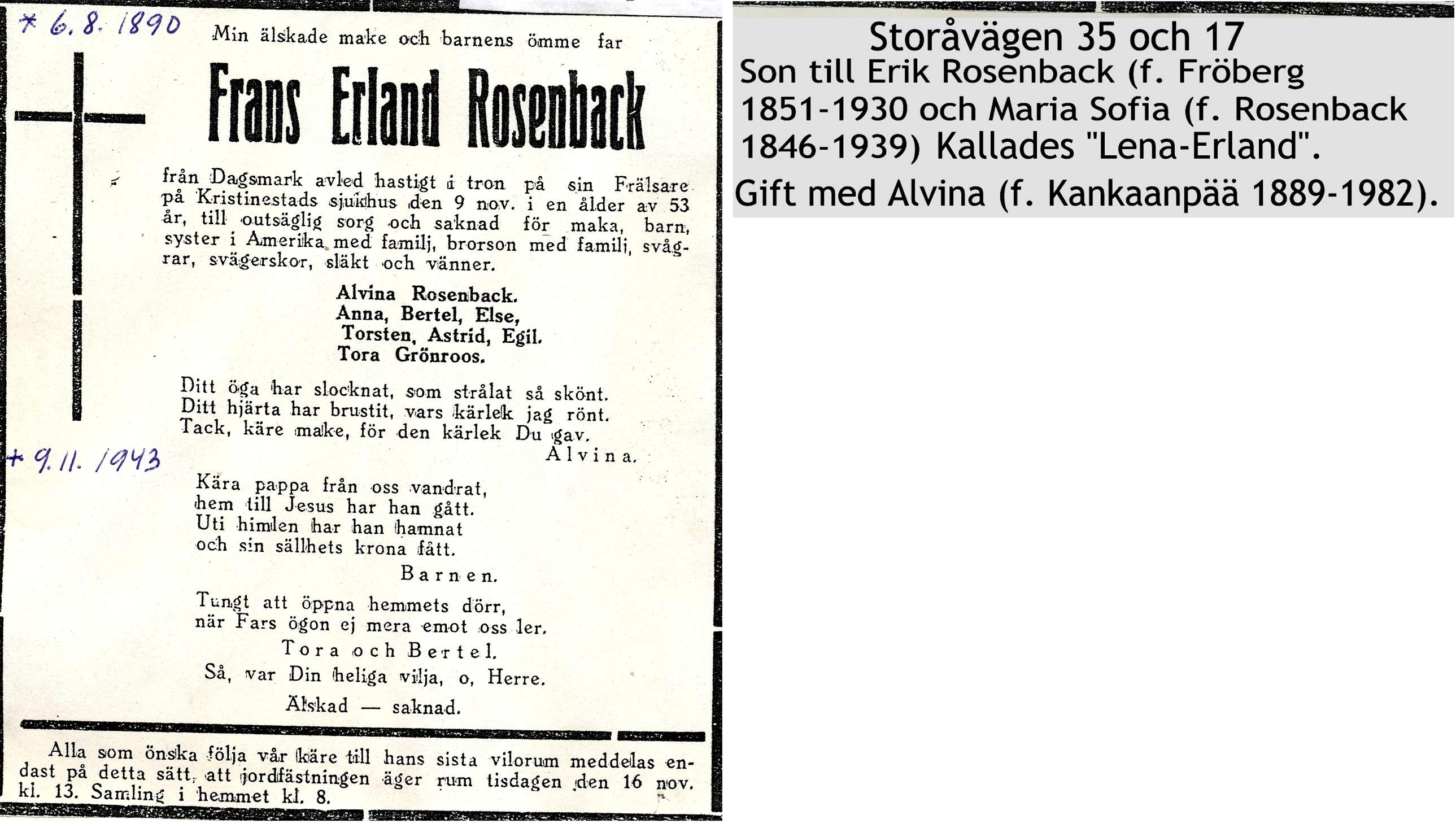 Rosenback Frans Erland