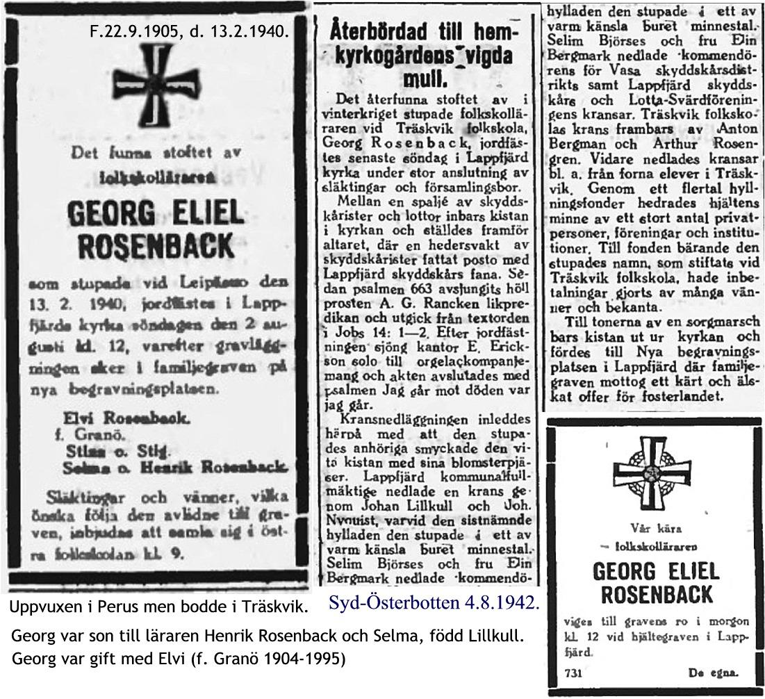 Rosenback Georg med nekrolog