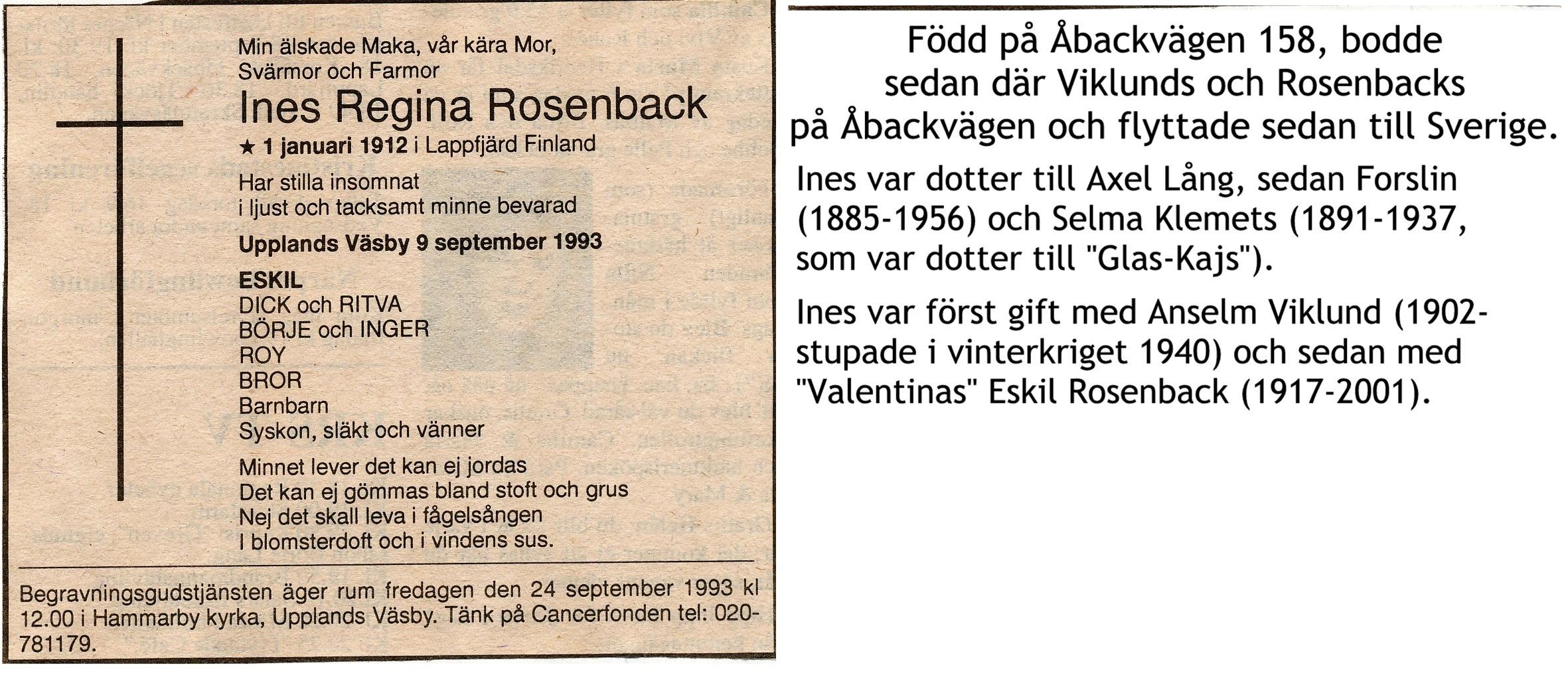 Rosenback Ines, f. Forslin, Viklund