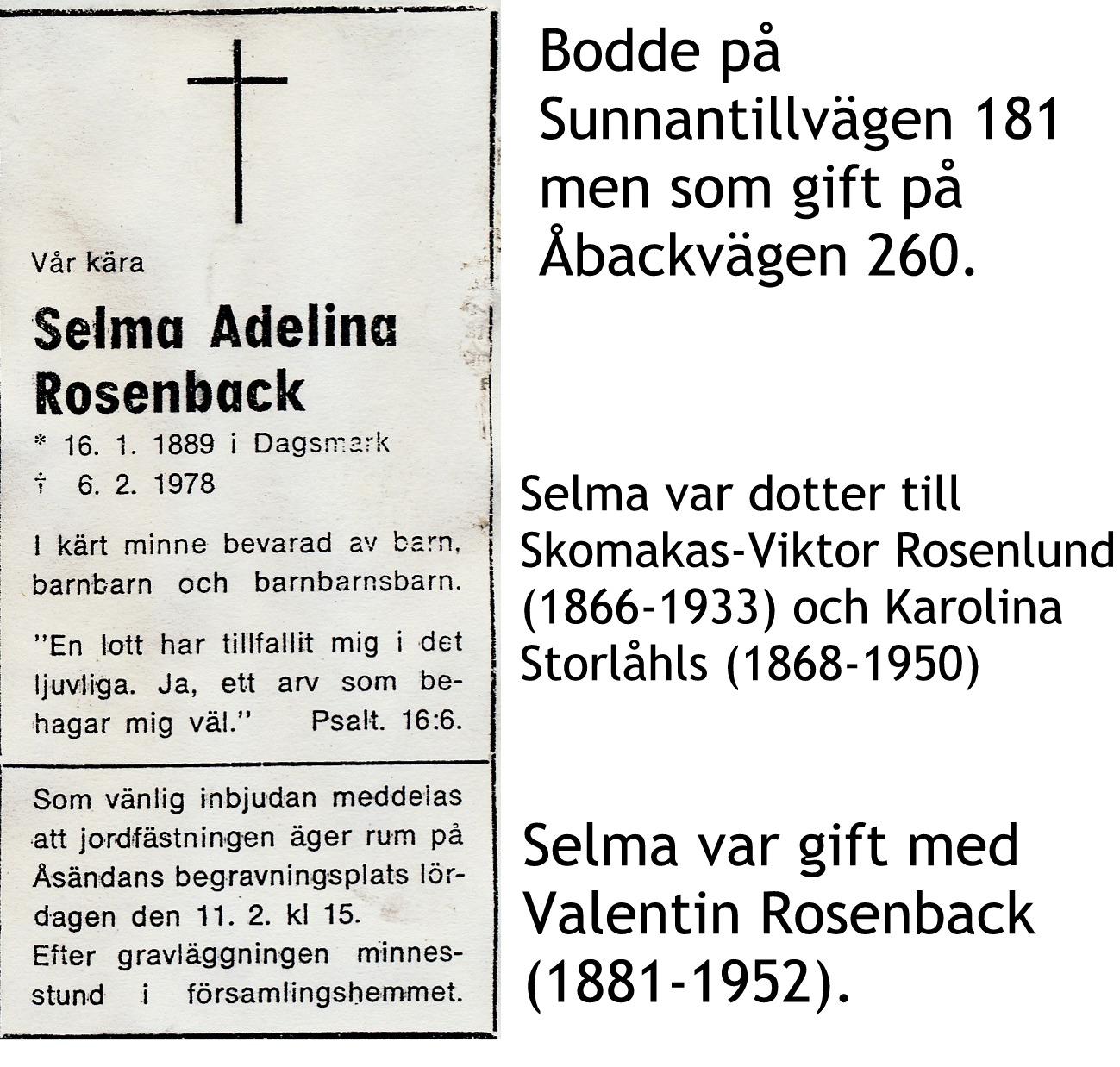 Rosenback Selma Adelina