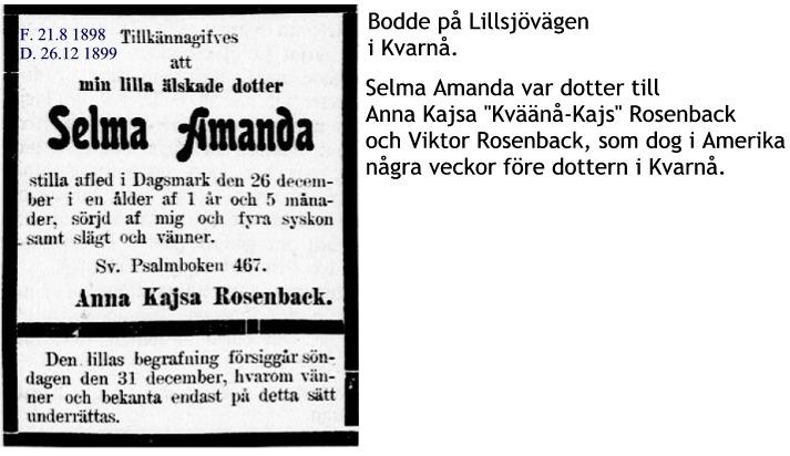 Rosenback Selma Amanda