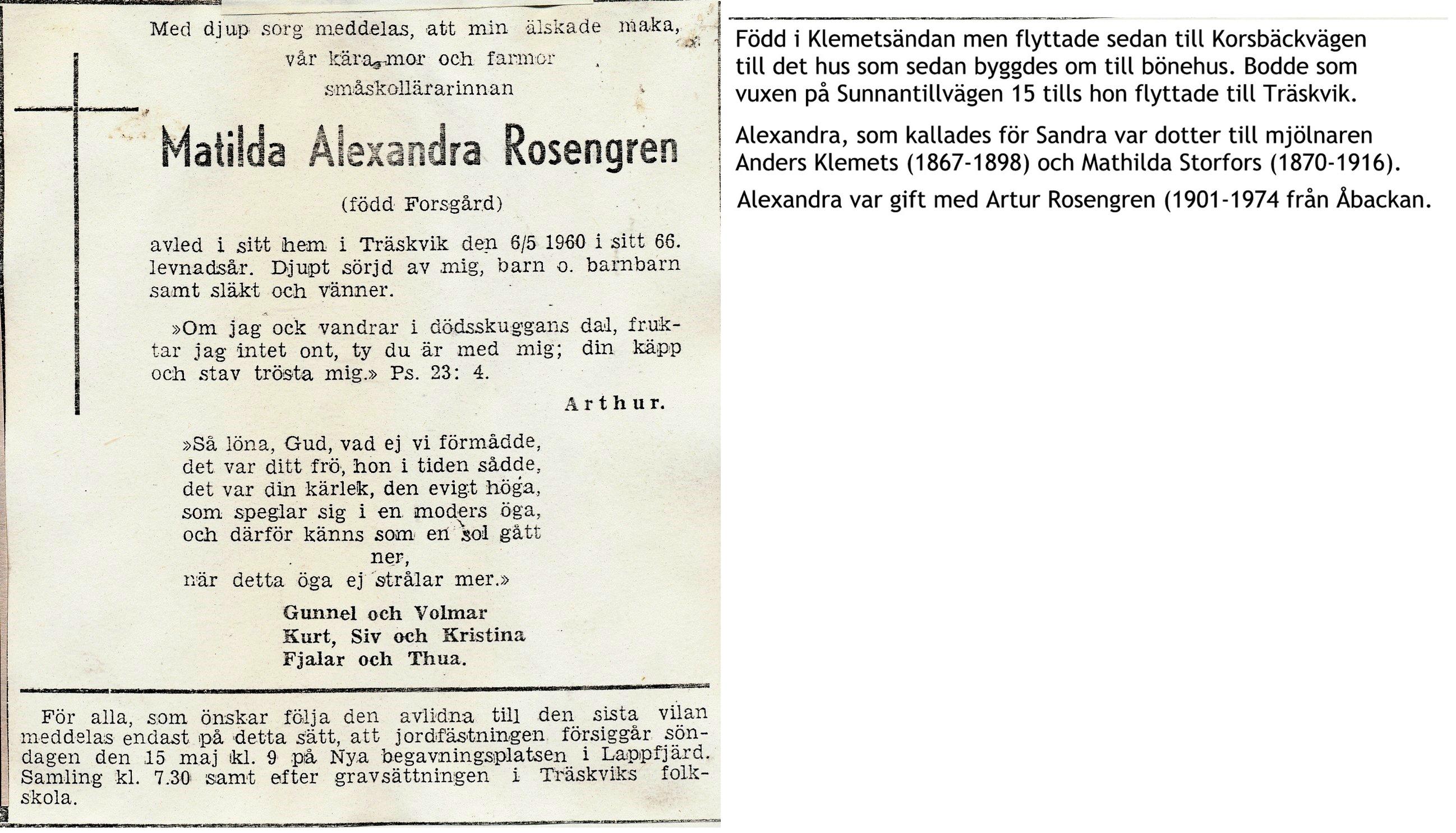 Rosengren Alexandra, f. Forsgård