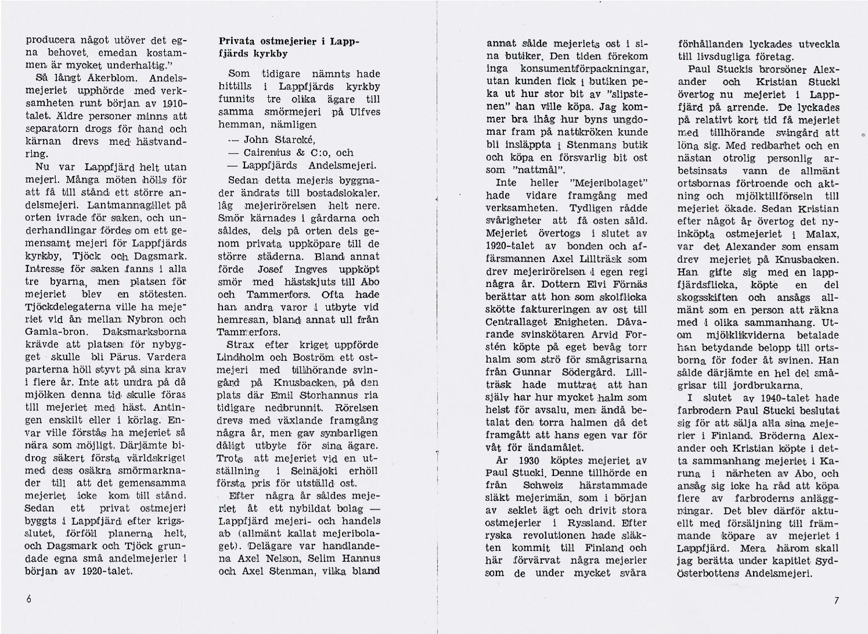 Sid 6-7 Privata ostmejeriet i Lappfjärd