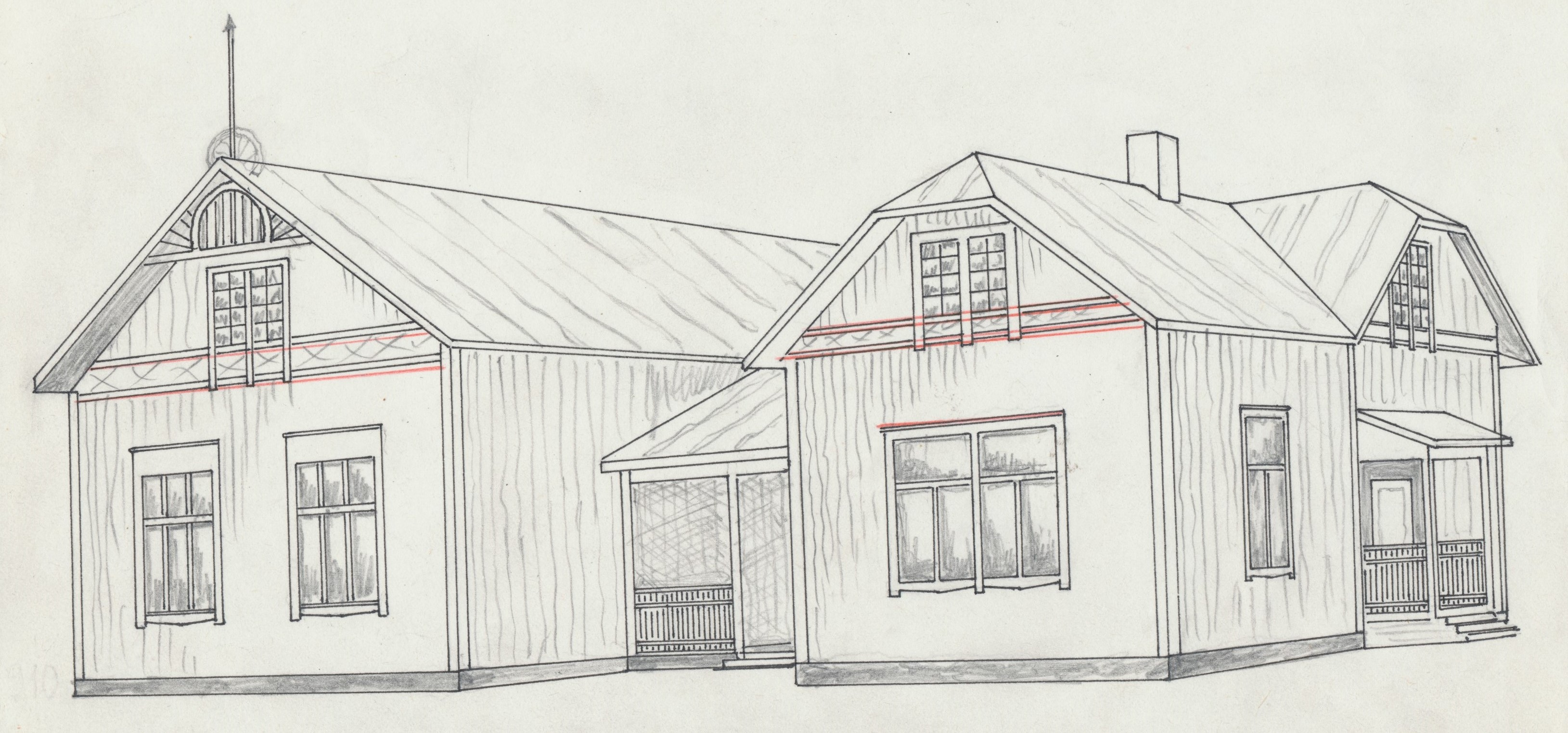Rurik Nylunds skiss av ungdomsföreningens första egna hus, som kallades Majbo.