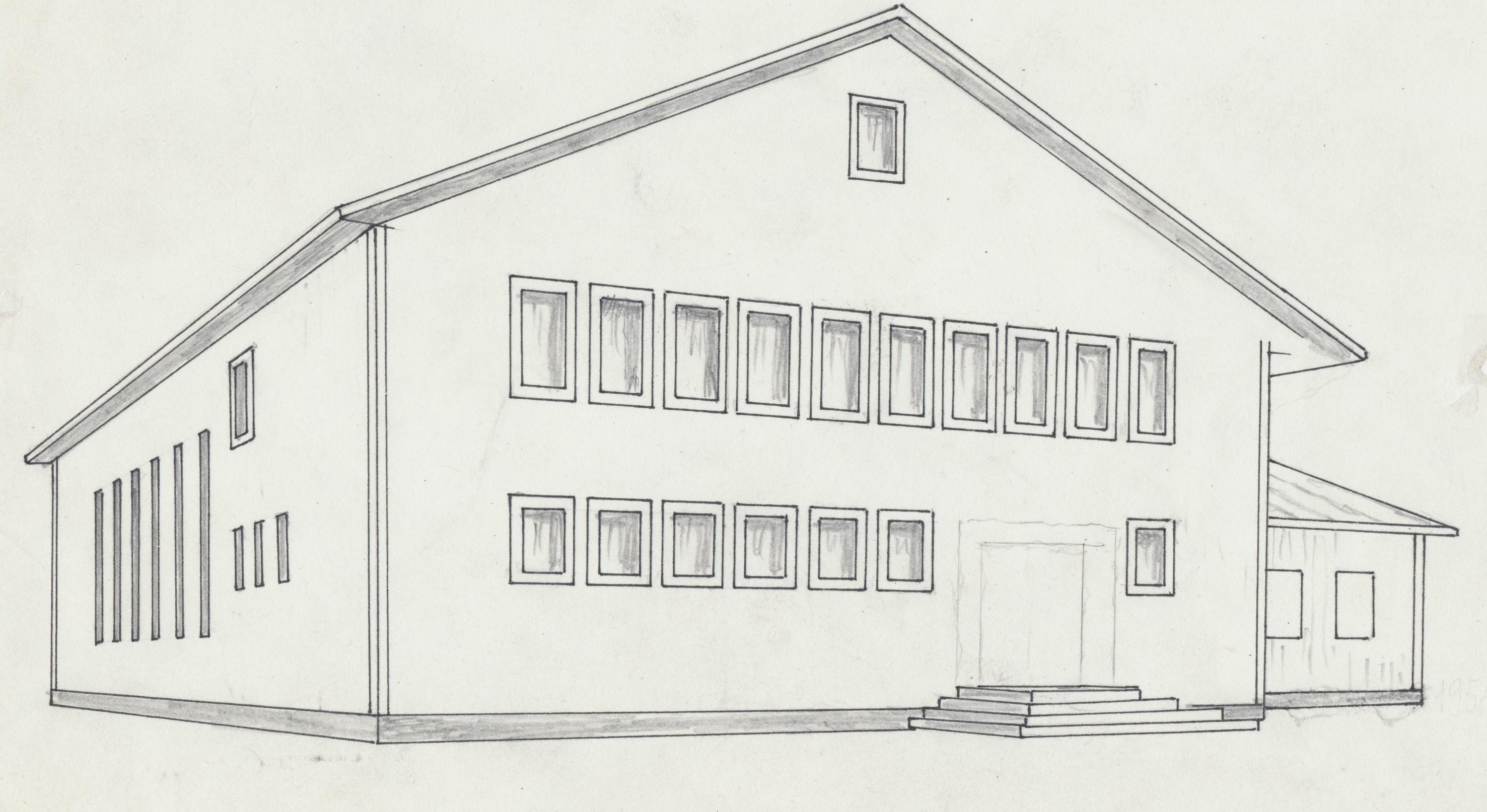 Rurik Nylunds skiss av ungdomsföreningens lokal.