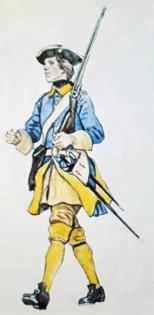 Infanteriets enhetsuniforms modell enligt 1687 års reglemente.