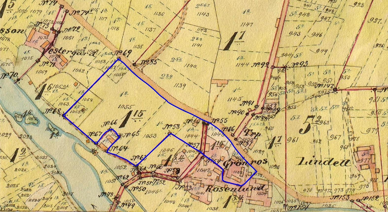 Vid storskiftet 1900-1912 fick Erland och Selma Grönroos sitt hemman Grönros 1:15 väl samlat i ett par skiften. Hemskiftet låg mellan landsvägen och Lappfjärds å.