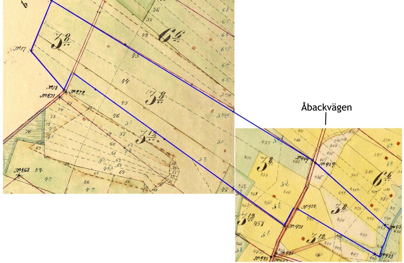 Vid storskiftet fick bröderna Valentin och Erland Rosenback hemmanet Rosenstedt 3:8 väl samlat i ett skifte, som låg mellan skogen och ån. Det delades sedan på längden, så att Valentin fick den västra delen och Erland den östra delen.