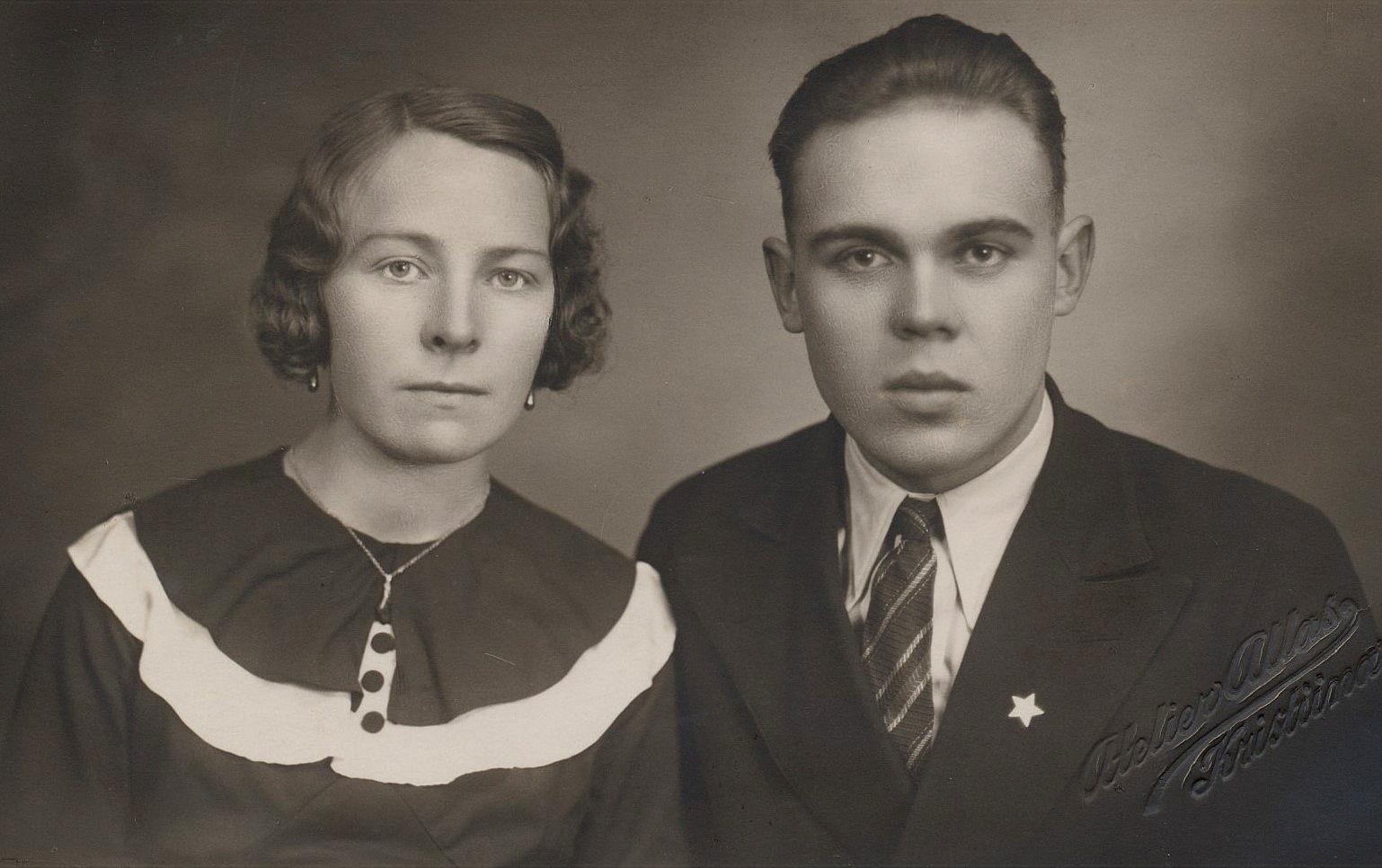 """Julen 1937 gifte sig Signe med Lennart Grans, som var son till """"Mattas-Viktor"""" och Hilda Grans."""